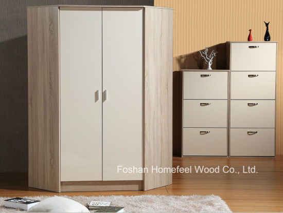 Wooden High Gloss Corner Wardrobe Closet