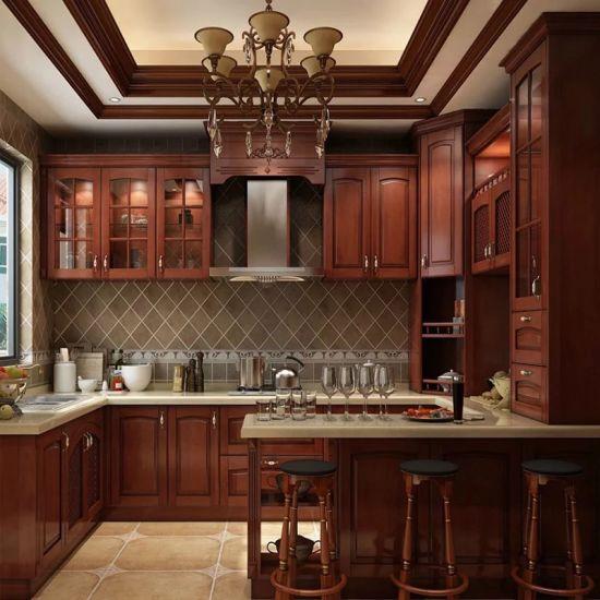 Solid Wood Cherry Kitchen Cabinets: China High End Quality U Shape Cherry Wood Kitchen