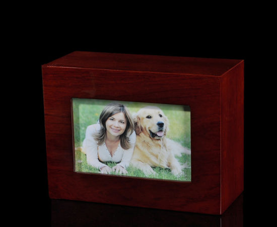 China Solid Wood Pet Urn With A Picture Holder China Simple Solid