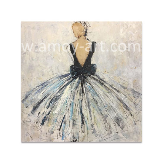 Handmade Nice Lady Abstract Figure Canvas Art Paintings for Living Room