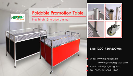 Foldable Promotion Display Stand with Wheels for Supermarket