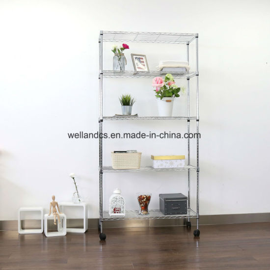 Rolling 5 Tier Adjule Wire Shelving Unit Storage Rack For Home Livingroom