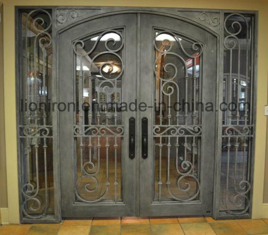 China Luxury Tempered Glass Iron Door Exterior Front Doors With