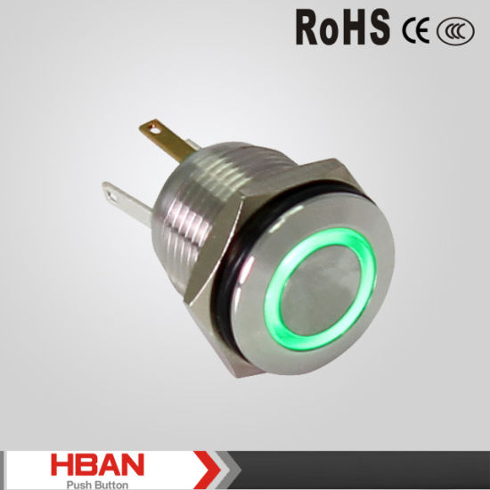 China 12V LED 16mm Metal Matainless Steel Push Button on off
