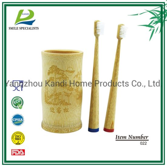 FDA Approved 100% Eco-Friendly Natural Wooden Handle Charcoal Bristle Bamboo Toothbrush
