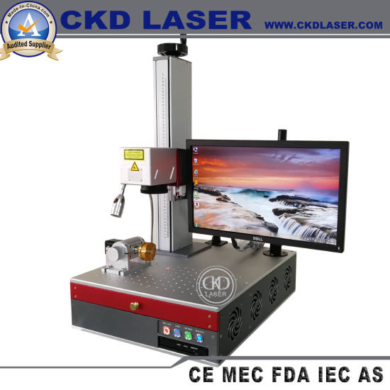 Small Smart All-in-One Portable Fiber Laser Marking Machine for Metal Logo Printing and Engraving with Computer Built-in pictures & photos