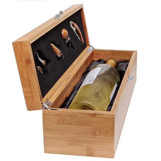 Multifunctional Rectangular Flat Bamboo Wooden Wine Box Gift Box