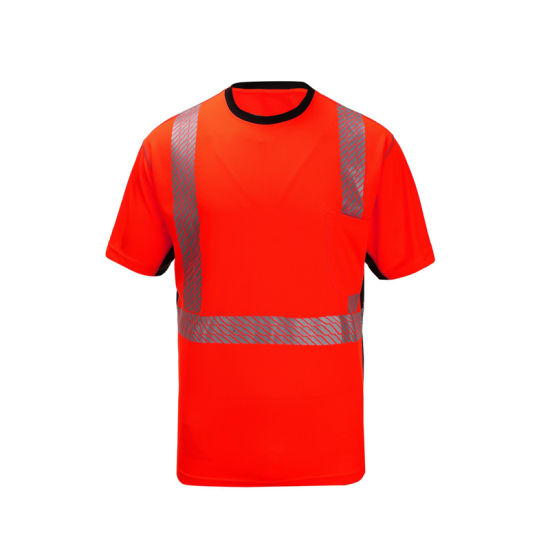 Wholesale Road Safety Warning Colorful Clothing with Pockets Can Logo Design High Visibility T-Shirt
