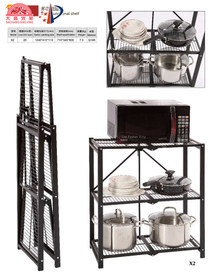 Convenience Multi Functional Folding Metal Shelf for Kitchen