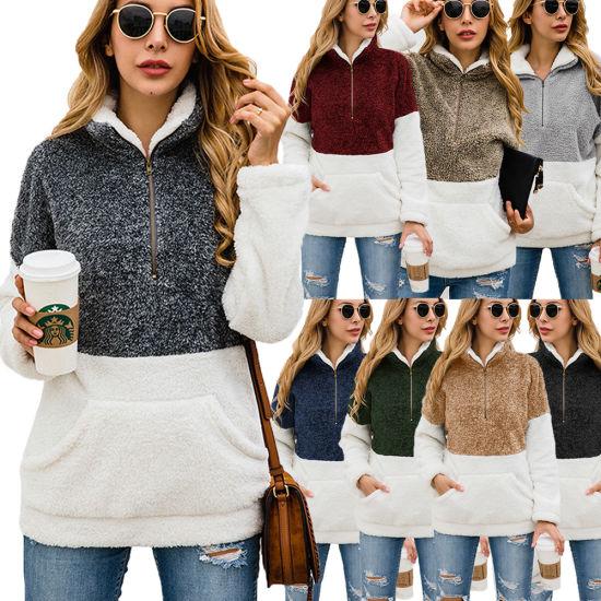 Fall Winter Women Zipper Pocket Fleece Pullover for Women