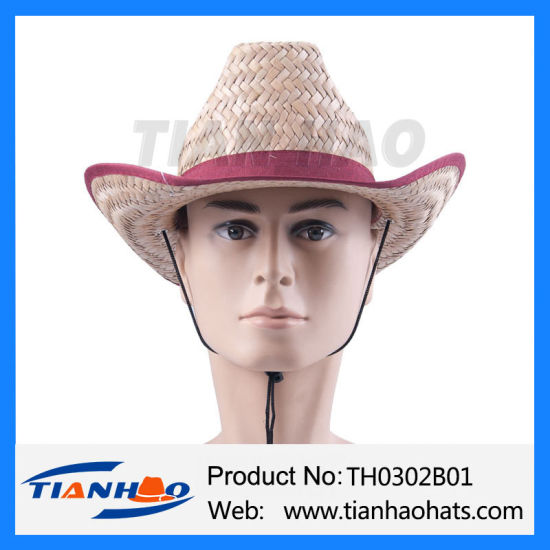 Cheapest Nutural Cattail Cowboy Straw Hat for Promotion pictures & photos