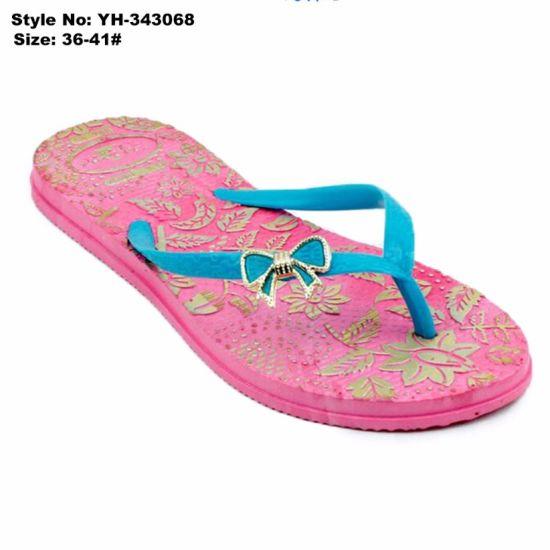 092ad91bc Printed Thick Sole Latest New Design PE Slipper Sandal Ladies High Heel  Flip Flops