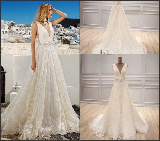 Sleeves Bridal Formal Gowns Grid Lace Wedding Dress 2018 S201737 pictures & photos