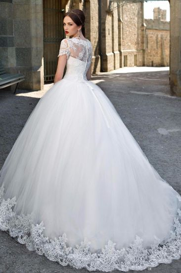 Short Sleeves Bridal Ball Gowns Tulle Puffy Wedding Dress Gv1712 pictures & photos