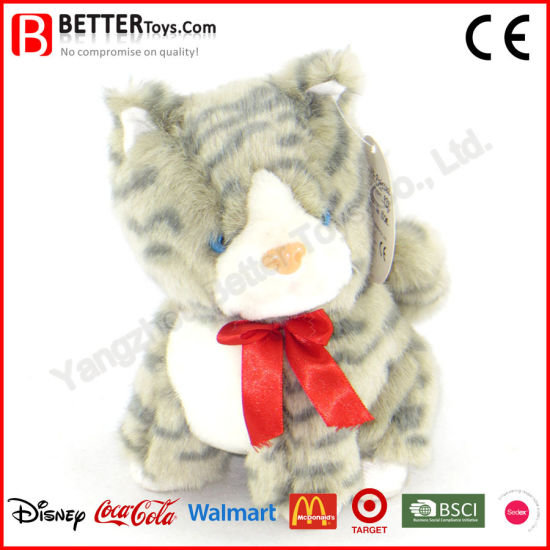92ac63d7f121 En71 Soft Animal Plush Toys Stuffed Grey Tabby Cat for Promotion