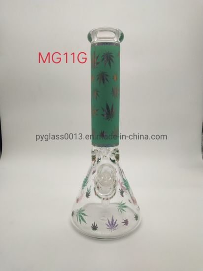 2020 China Manufacturer Safety and Fast Delivery Glass Water Pipe with Leaf Decals