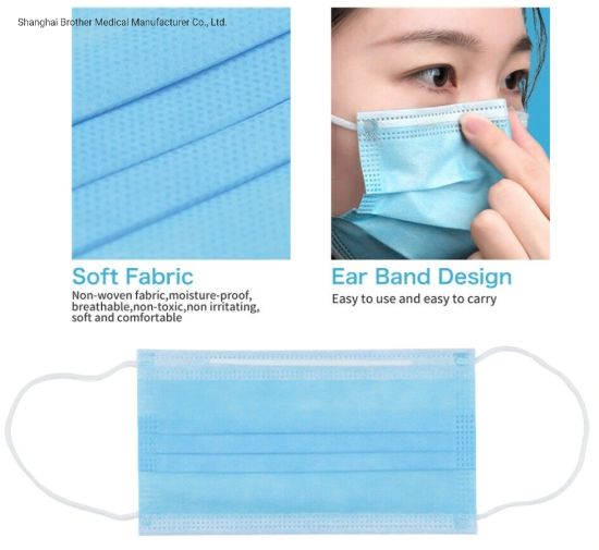100PCS Disposable Face Mask Nonwoven 3 Layer Ply Filter Mouth Face Masker Breathable Anti Bacteria Proof Adult Protective Maskes