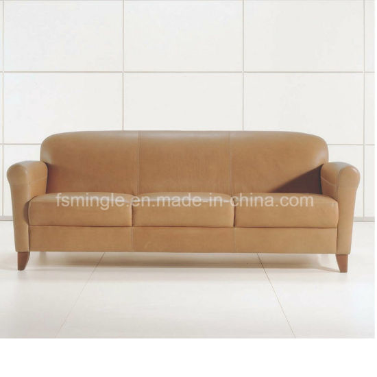 French Style Wooden Frame Leather Office Sofa For Meeting Room