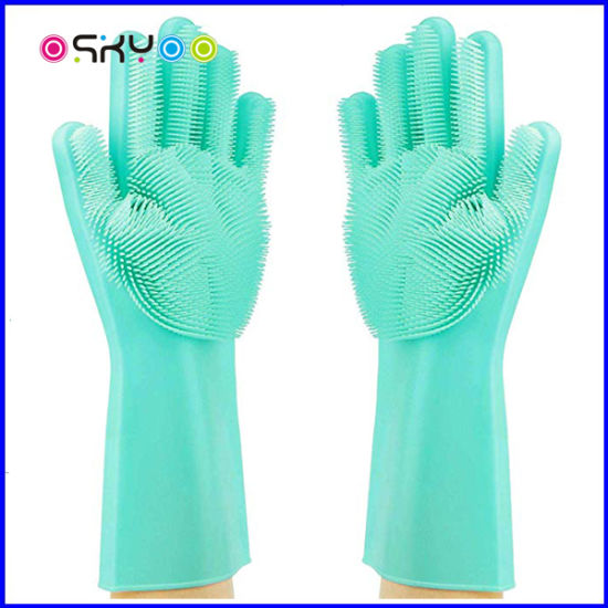 Silicone Rubber Scrubber Cleaning Dishwashing Gloves for Kitchen Bathroom and Pet