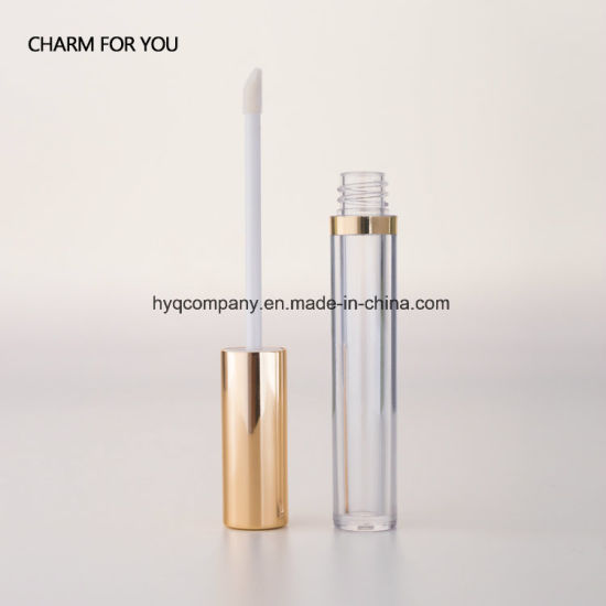 6a1387315c1a Round Transparent Empty Lipgloss Tube Golden Cap Liquid Lipstick Container  Cosmetic 6ml Lip Gloss Bottle