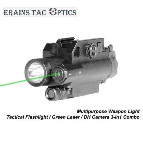 Tactical 3-in-1 Combo of Magnetic Switch Green Laser Sight and Gun LED Light with HD Camera