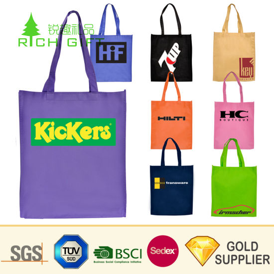 Cheap Custom Promotion Simple PP Non-Woven Shopping Bag Recyclable Foldable Laminated Nonwoven Carrier Drawstring Fabric Garment Tote Bag for Promotional Gift pictures & photos