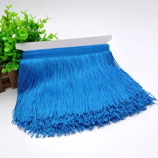 Wholesale High Quality 15cm Blue Color Polyester Fringe Trim for Dresses
