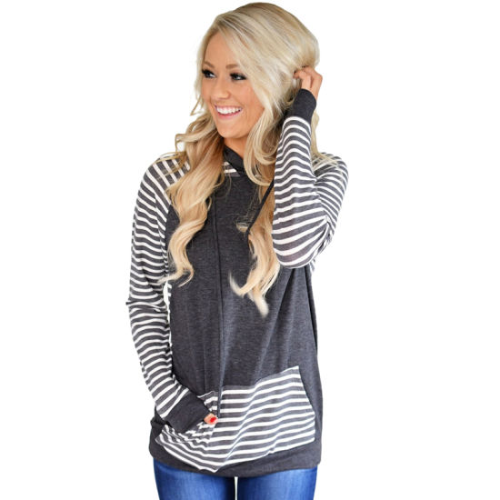 Customized Gray Double Cotton Hoody Striped Sweatshirt pictures & photos