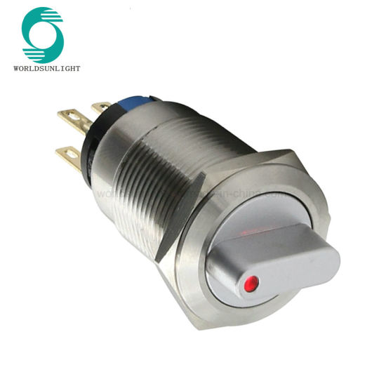 19mm Latching Function 2no2nc 3 Position Rotary Metal 12V Illuminated DOT LED Selector Switch