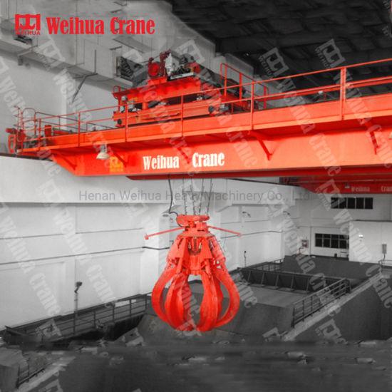 Weihua Heavy Duty Double Girder Orange Peel Grab Bucket Overhead Crane 8 Jaws