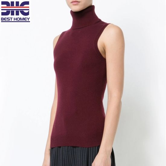 95edcc690a578 Women′s Sleeveless Turtleneck Pure Cashmere Luxe Knitted Slim Fit Sweater  for Ladies