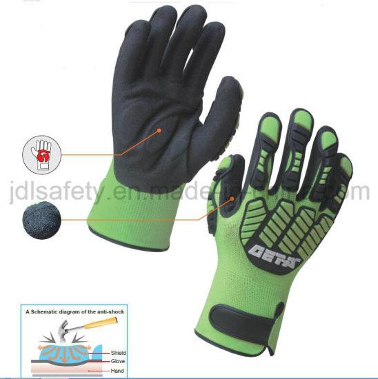 Hi-Vis Yellow Anti-Vibration Heavy Duty Cut Resistant Anti-Impact Work Glove with TPR (TPR9003)
