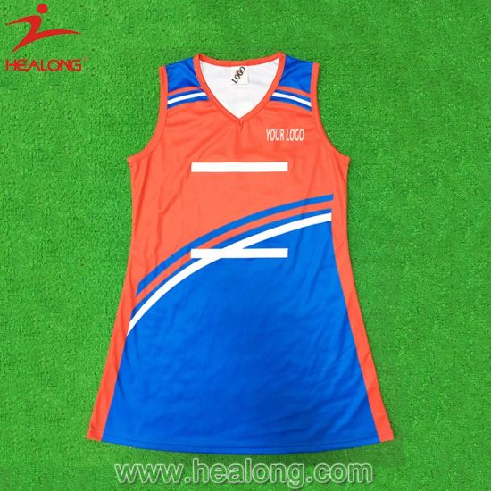 Healong ODM Digital Textile Printing Plain A Line Netball Dress pictures & photos