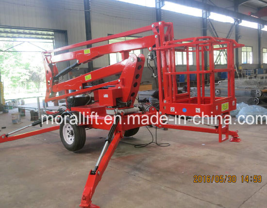 High Lift 10m Trailer Mounted Electric Articulated Boom Lift pictures & photos