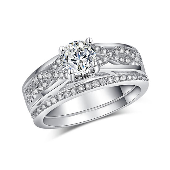 Hot Sales 925 Silver Jewelry Ring Set Engagement Jewelry pictures & photos