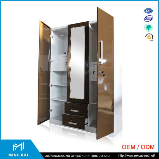 Indian Design Steel Almirah Bedroom Furniture 3 Door Metal Wardrobe