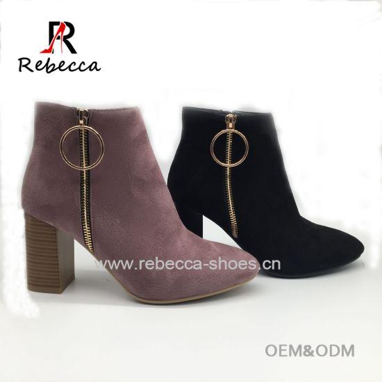 China New Design Block Heel Women Ankle
