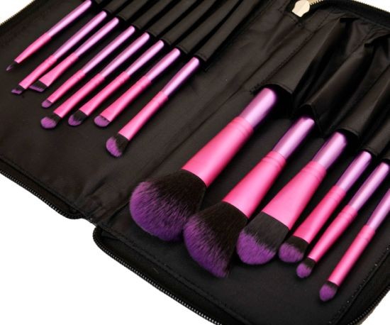 New 14PCS Synthetic Hair Cosmetic Makeup Brush with Zipper Pouch pictures & photos