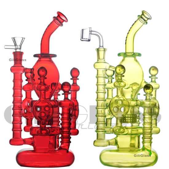 12 Inches Giliglass Glass Double Recycler Propeller Spinning Perc Oil DAB Rigs Green Purple 14mm Water Pipes with Heady Glass Bowl Wholesale