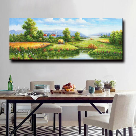Beautiful Scenery Wall Painting Impressionist Forest Road Home Decor Oil Painting On Canvas Chinese Natural Village Scenery
