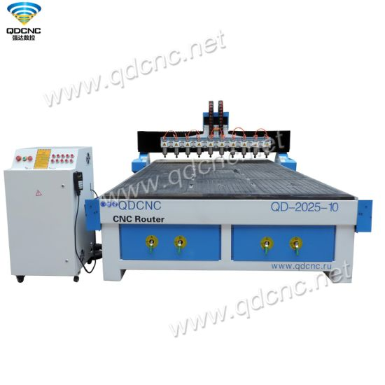 Cost Price MDF CNC Engraving Cutting Machine with 10 Heads QD-2025-10