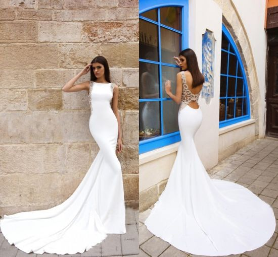 c4c26e033e7a Sleevless Bridal Dress Sheer Back Spandex Mermaid Wedding Gowns S14818