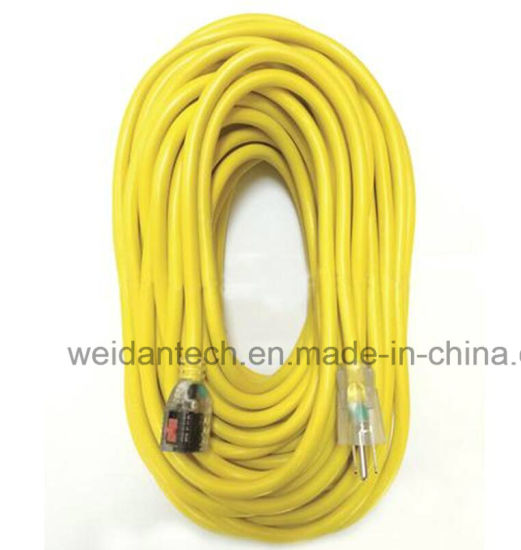 12-3 100' Outdoor Lighted Yellow Power Extension Cord