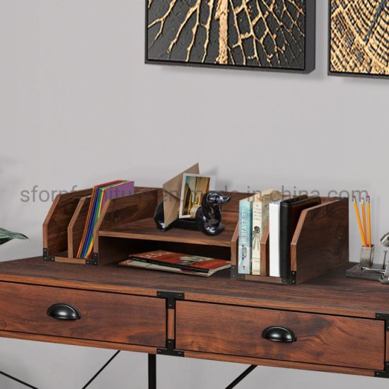 Wooden Walnut Color Desktop Organizer