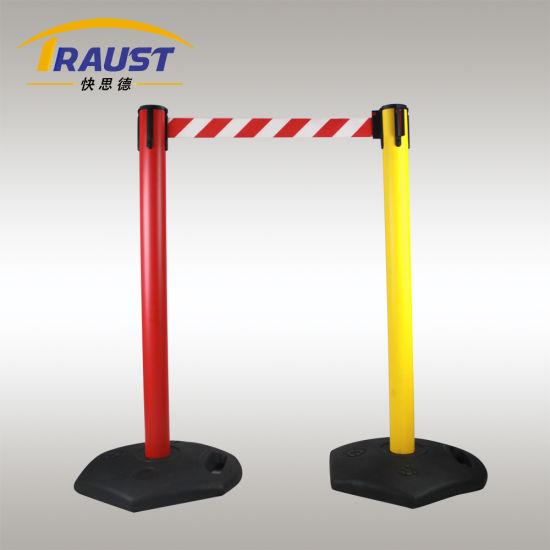 Retractable Belt Plastic Stanchions Post, Barrier Poles with Rubber Base