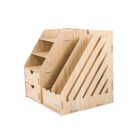office file box. Wooden DIY Office Stationery Organizer With Drawers And File Box
