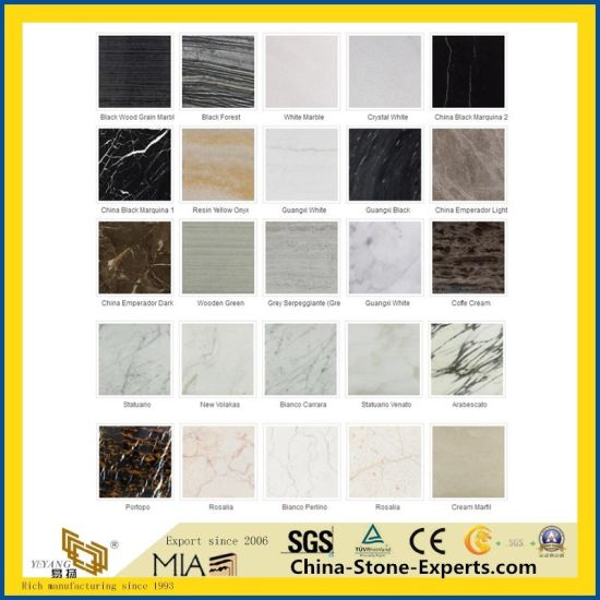 Cheap Polished White/Green/Black/Grey/Blue/Red/Yellow/Pink/Brown/Marquina/Carrara/Calacatta/Wood/Artificial/Onyx/Natural Stone Marble for Kitchen/Bathroom pictures & photos