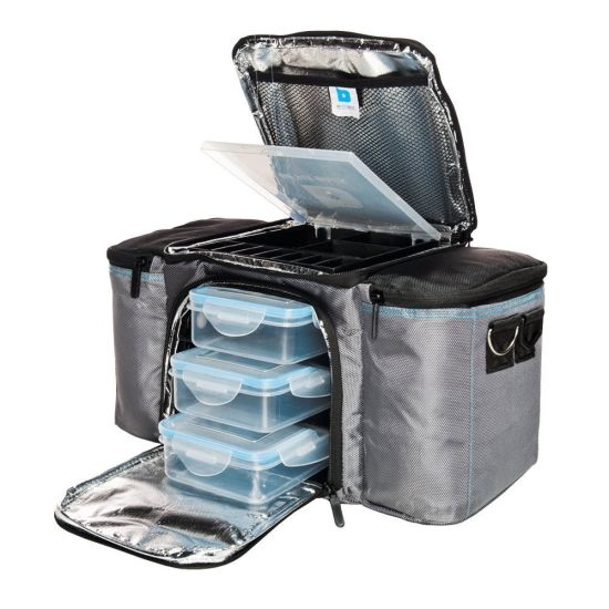 Grey Meal Prep Gym Fitness Cooler Lunch Box Bag for Men & Women