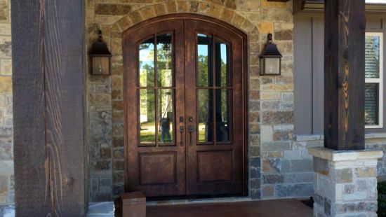 Customize Wrought Iron Double Entry Door Front Door Design