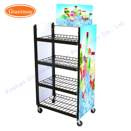 Floor Standing Moverable Metal Display Stand Flat Shelves With Wheels